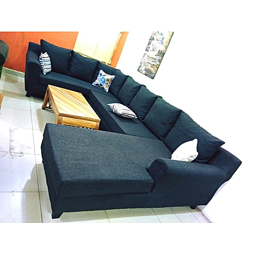 Sofa Sets In Uganda: Other Black U Shaped Sofa 7 Seater Sectional Sit