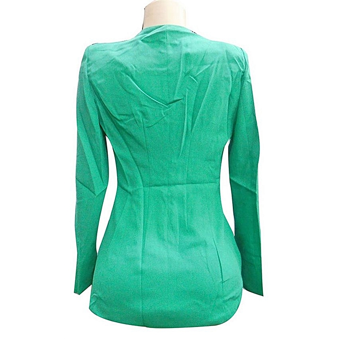 - Long Sleeved Women's Blazer-Dark Green