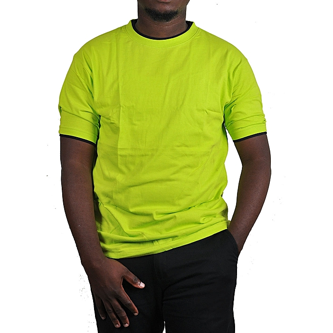 c2191381a29 Buy designer Plain Lemon Green Double Neck Men's T-Shirt - Green ...
