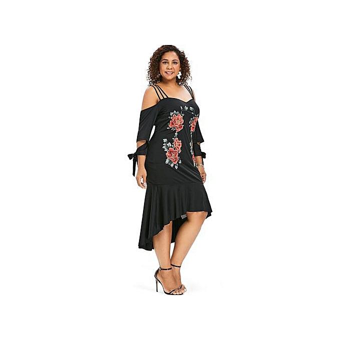 Plus Size Embroidery Applique Mermaid Dress,Black