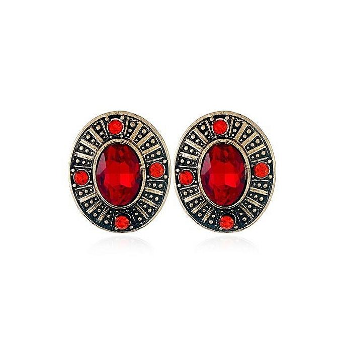 4b0a702b0 Stuff Vintage Elliptical Shape Antique Gold Color Red Rhinestone Stone Stud  Earring Women Punk Earring Jewelry