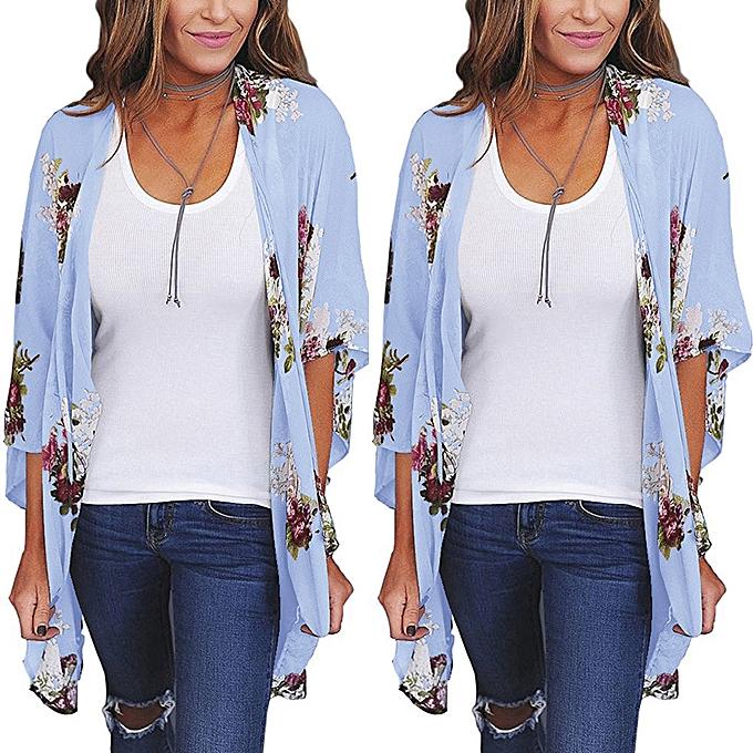 9eaca2a33 Hiamok Women Chiffon Loose Shawl Print Kimono Cardigan Top Cover Up Blouse  Beachwear