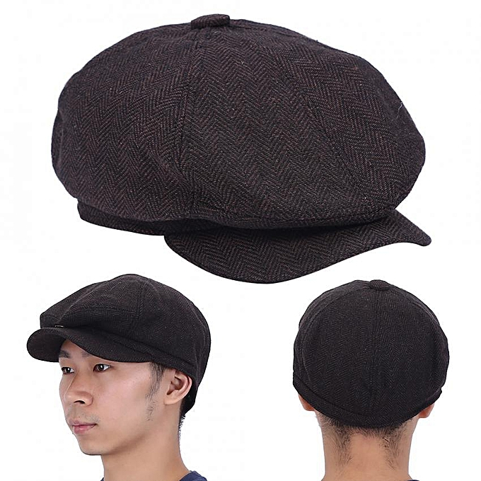 1878dba6 Fashionable Herringbone Men Warm Cotton Duckbill Hat Newsboy Cabbie Ivy Cap  (Brown)