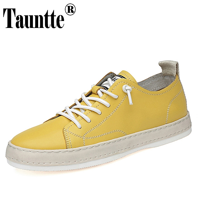 ea5305b1c Men's Genuine Leather Sneakers Anti-odor Casual Skateboard Shoes (Yellow)