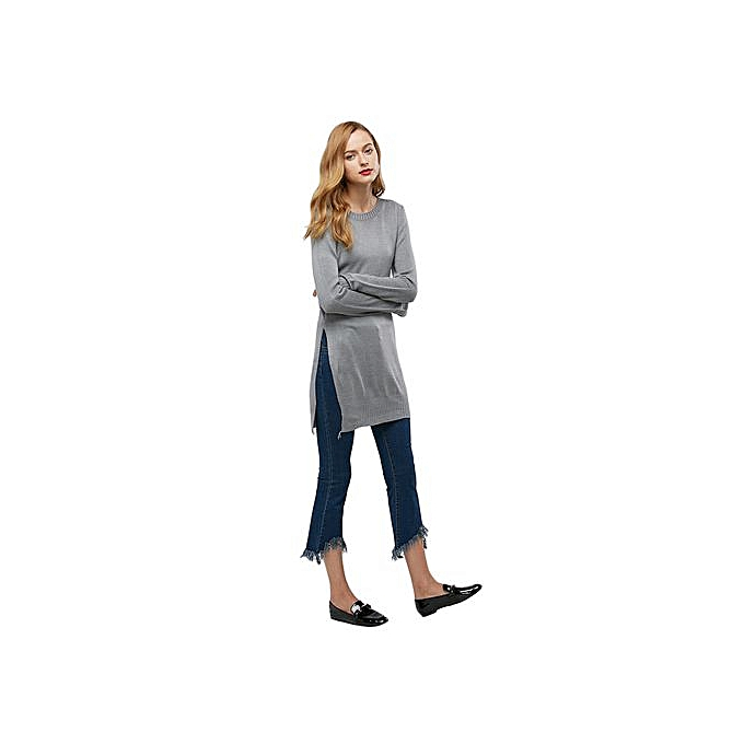 997faca7c6b Casual Long Sleeve Round Collar Slit Knitwear For Women,Gray