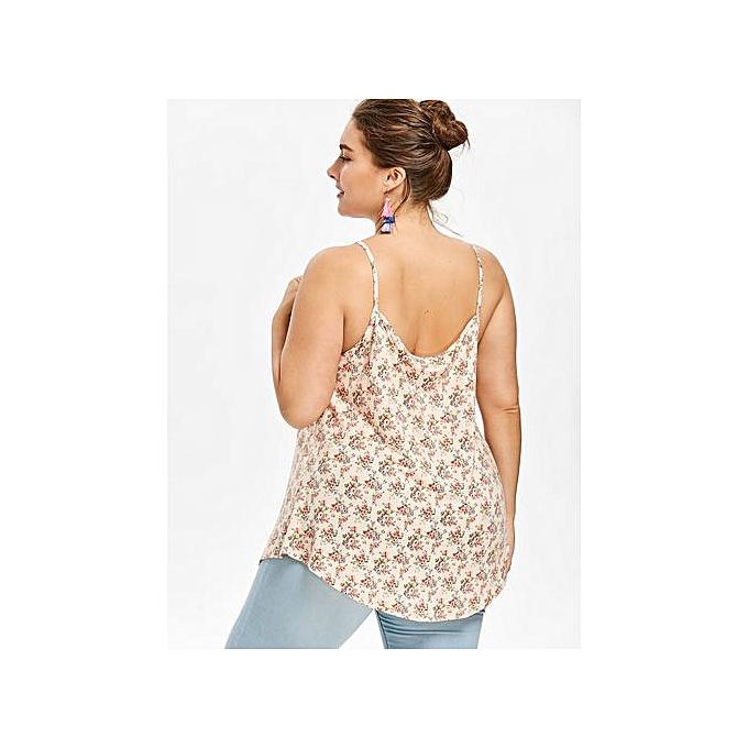 29b2b04c404 Plus Size Lace Panel Floral Cami Top