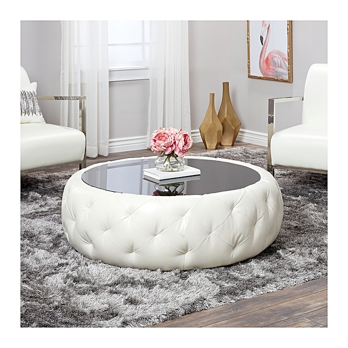 Tufted Round Leather Coffee Table White
