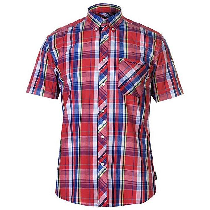 e14efb916 Pierre Cardin Pierre Cardin Madras Checkered Short Sleeve Shirt ...