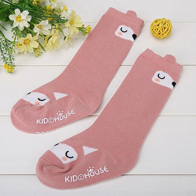1 Pair Toddler Combed Cotton Sock Anti Slip Soft Breathable Baby Girl  Stocking Pink Fox M