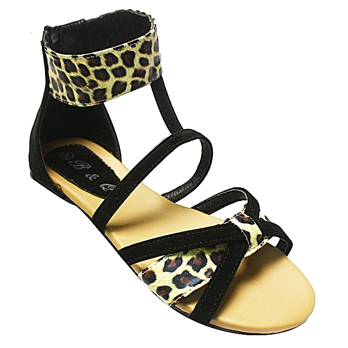 03fd5a5f267 Animal Print Gladiator Sandals - Black