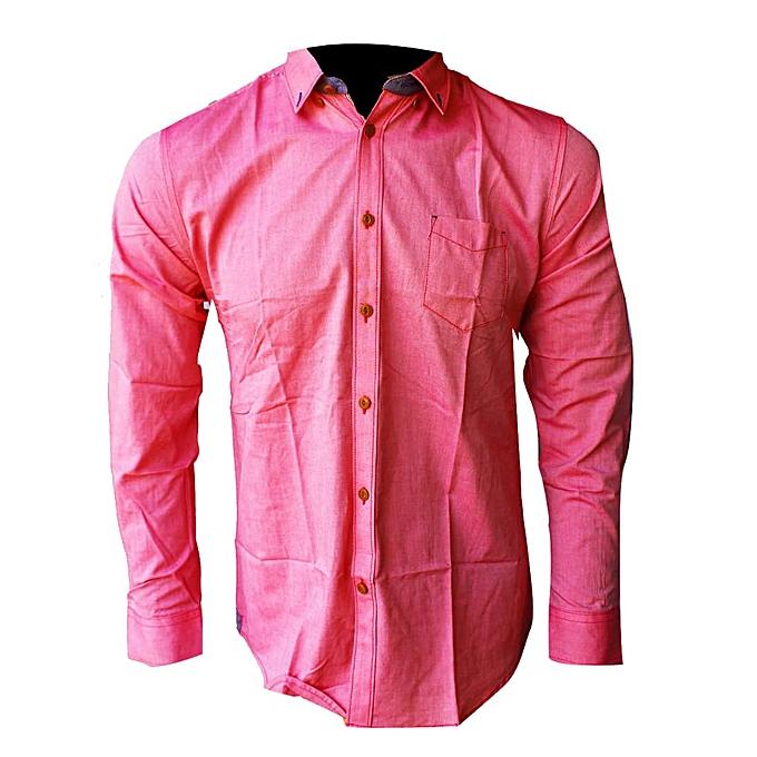 Generic Men s Designer Long Sleeve Shirt - Pink  c39ea7930