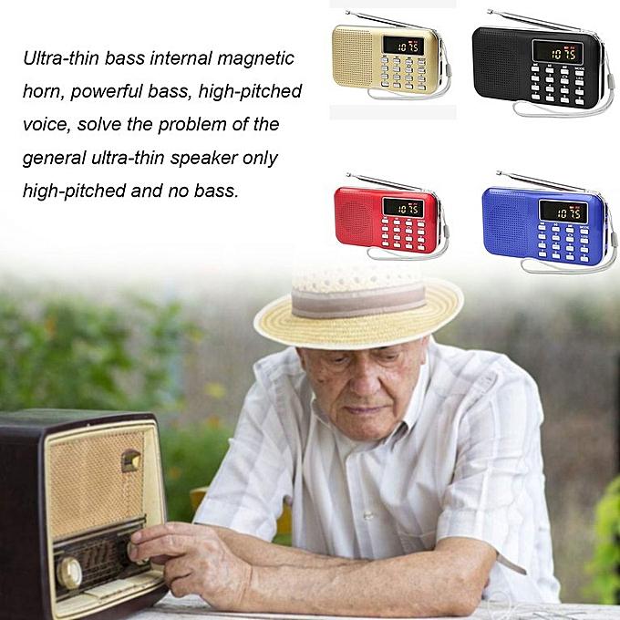 Ultra-thin Card Mini Speaker Old Radio Audio With Flashlight red
