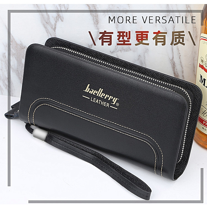 988f9ee9e2d4 Men wallet business youth double zipper clutch bag multi-function large  capacity wild hand clutch-black