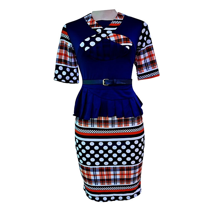 Scottish Formal Dress with Polka Dots - Multi-color