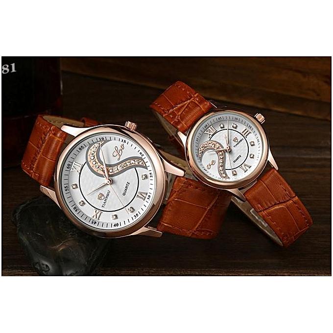 ... Hiamok 1 Pair Tiannbu Ultrathin Leather Romantic Fashion Couple Wrist Watches GD ...