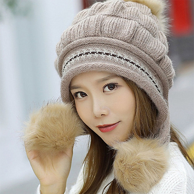 f7df72a66 Autumn And Winter Korean Fashion Women Wild Warm Knitted Hat Gloves  Two-piece