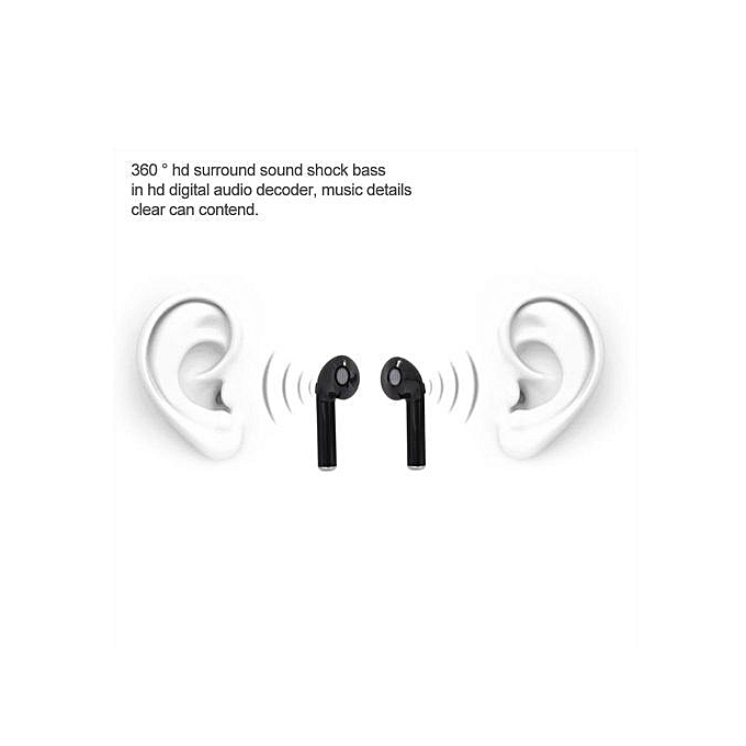 Bluetooth Earbuds, Wireless Bluetooth Headset Mini Binaural Stereo  Headphone For Apple Iphone Sumsung HTC Huawei - Black