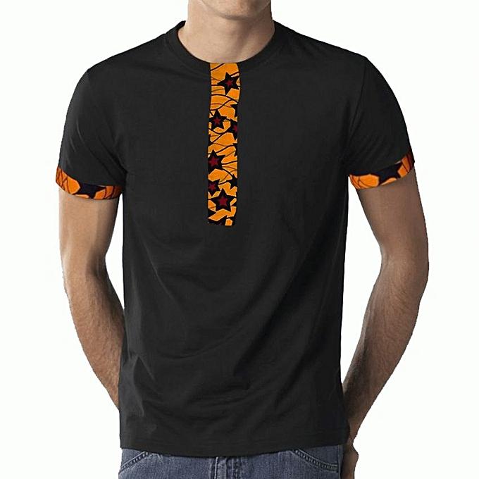 e592d4ff Buy - Yellow Star Kitenge Men's Casual T-Shirt - Black online ...