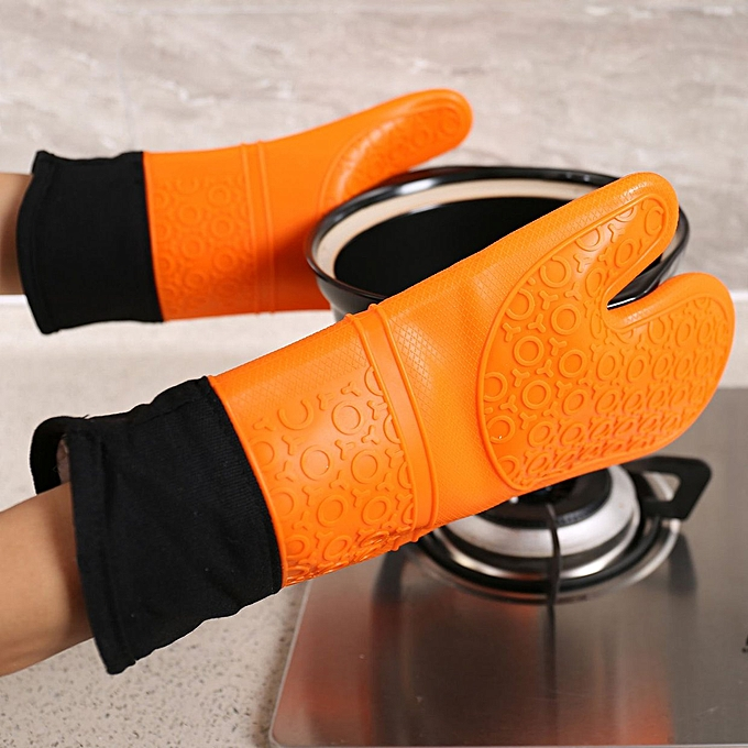 Long plus cotton food grade silicone cloth gloves insulation oven home