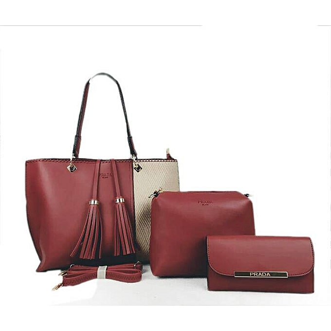 e36c22eb2aa0 coupon 3 in 1 detailed leather tote handbag prada maroon ed859 c4071