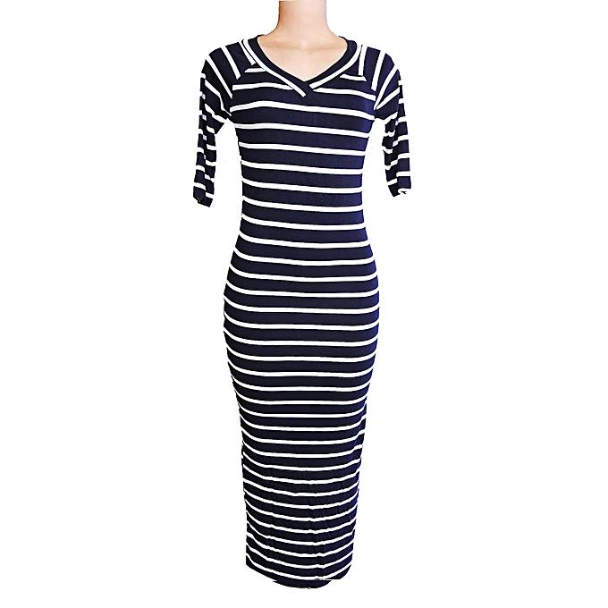 1bdb5d6a9036d Striped 3/4 Sleeve Maxi Dress - Black, White