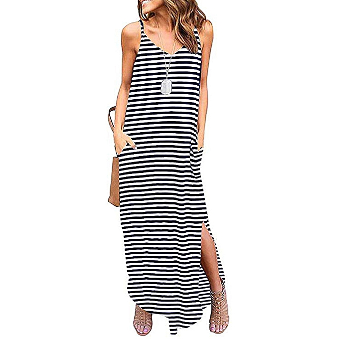 9f18864c46f05 Women Summer Casual Strappy Stripe Sleeveless Loose Beach Maxi Long Dress