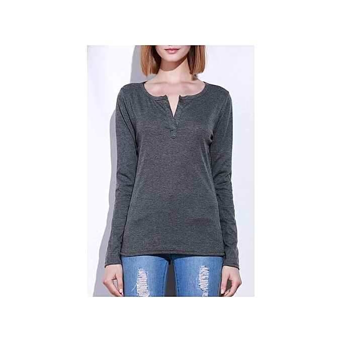 8d2731ae50bf Buy FASHION V-Neck Long Sleeve Pure Color T-Shirt For Women,Gray ...