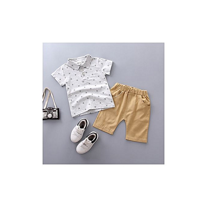 d2cffb42f Buy FASHION 2019 Boys' Polo Shirt With Anchor Printed Boy Suit ...