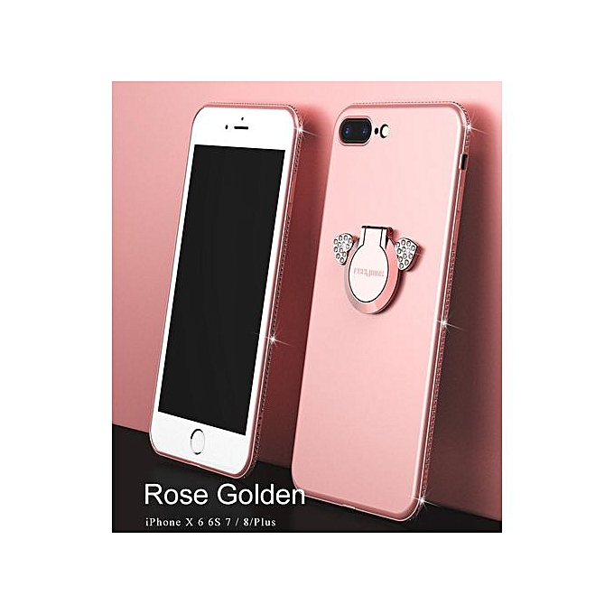 100% authentic c77ee 7acaf IPhone 7 Plus Case, Phone Case, Luxury Rhinestone Phone Case Cute An  Bracket Finger Ring Case Soft TPU Cover For IPhone 7 Plus - Rose Gold