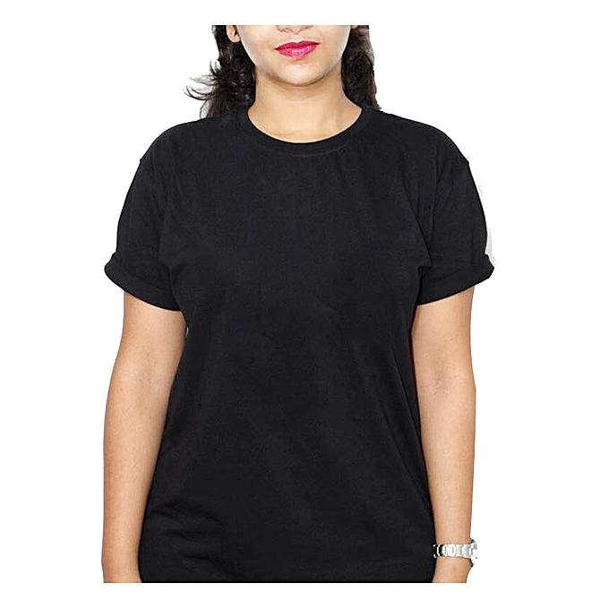 e80c089a6931 Buy designer Plain Black Round Neck Women's T-Shirt - Black online ...