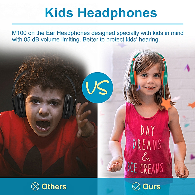 f3081823b87 ... ONIKUMA M100 Kids Headphones 3.5mm Wired On Ear Headset Children  Earphone Adjustable Headband w/ ...