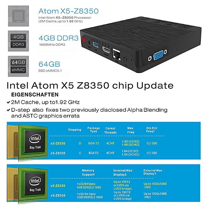 Beelink BT3 PRO Support for Windows 10 TV Box Intel Atom x5-Z8350 64 bit  Intel HD Graphics 400 4G/64G H 265 UHD 4K Mini PC 2 4G & 5 0G Dual WiFi  1000M