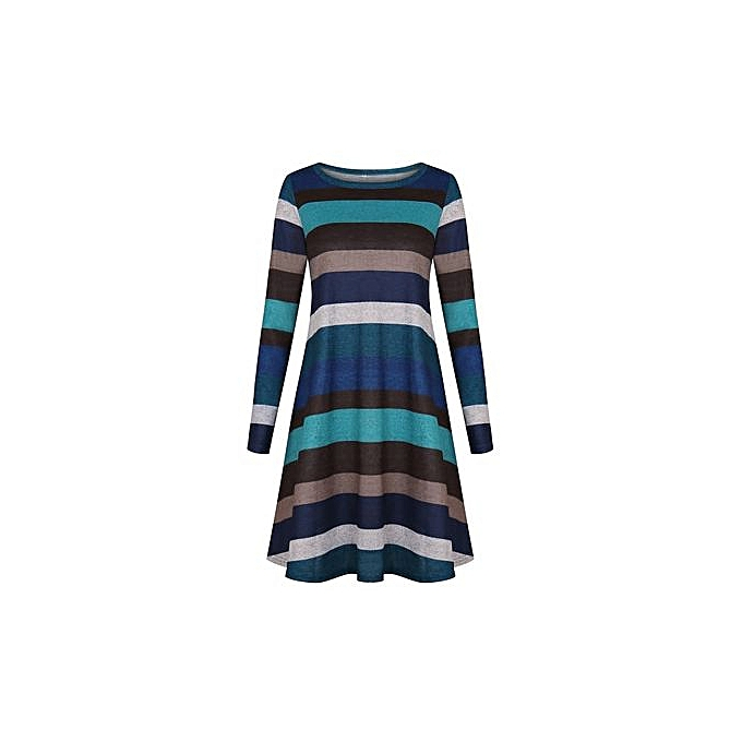 1810a9b58 ... Western Style Women's Best-selling Short Skirt Amazon Hot Style Wide  Stripes Long Sleeve Dress ...
