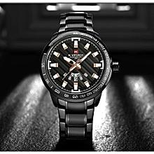 Men Stainless Steel Gold Watch Quartz Clock Sports Waterproof Wrist Watches