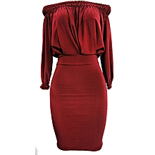 Off Shoulder Midi Dress - Maroon