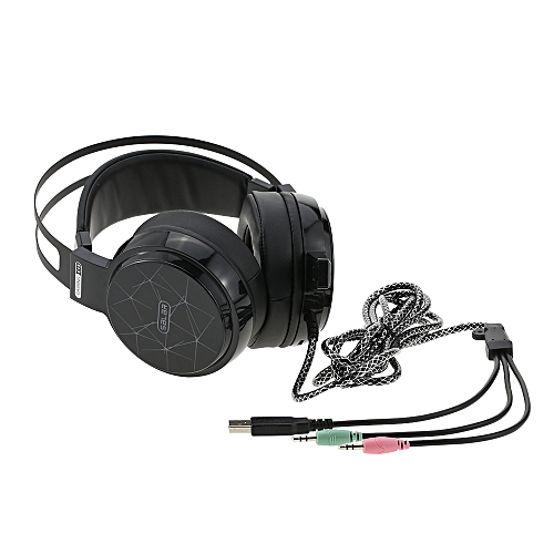 Professional Gaming Esport Headphones 3 5mm Over-Ear Stereo Headset  Earphone USB Wired with Microphone RGB Breathing LED Lights for PS3 PS4  Desktop PC