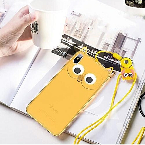 separation shoes 1e673 29bbb Lanyard Phone Case For Apple IPhone 8 3D Cute Cartoon OWL Soft Silicon  Rubber Phone Case Cover Cute Case For Iphone 8 - Yellow