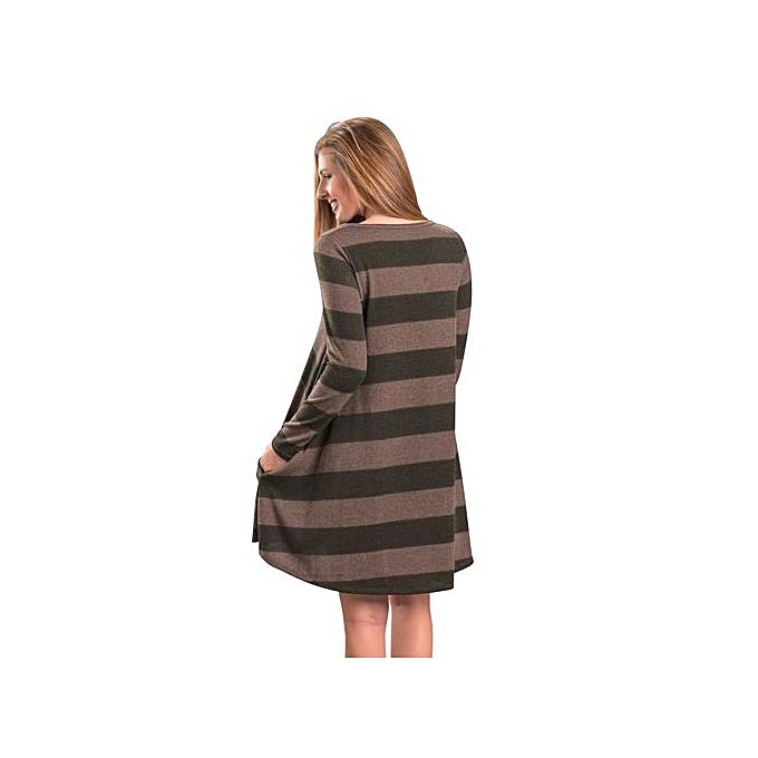 7e08d1f17 ... Western Style Women's Best-selling Short Skirt Amazon Hot Style Wide  Stripes Long Sleeve Dress