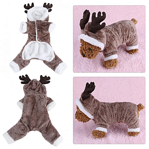 dccd8b9c7ab Cute Elk Pet Christmas Costume Dog Puppy Autumn/Winter Clothes Warm Coat  (Brown)