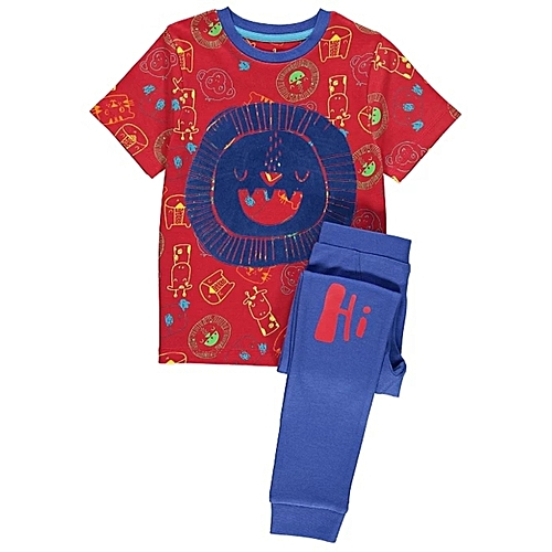 9b319379bf4c ASDA Boys Asda Lion Face Short Sleeve Printed Pajama Set - Multi ...