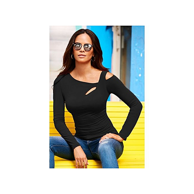 c96800f0 Buy FASHION New women's slanted shoulder sexy long-sleeved T-shirt ...