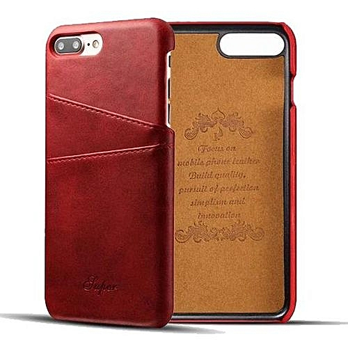 Phone Case For Apple IPhone 8 Plus Luxury Leather With Card Case IPhone 8  Plus Fitted Cases Mobile Phone Shell Hard Back Cover Cases , Red
