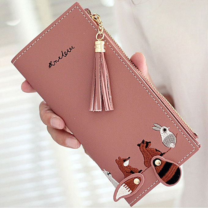 232ebc28fd3 Women Fox Cat Long Wallet Tassel Coin Purse Card Holders Handbag Package RD