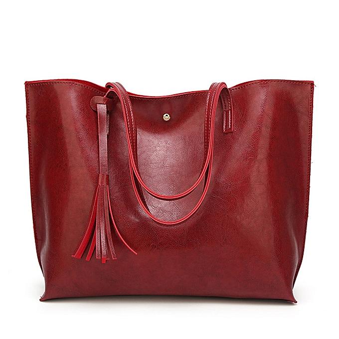 2541c006a Hiamok _Woman Casual Bags Women Leather Tassel Handbag Shoulder Bag  Crossbody Bag Red