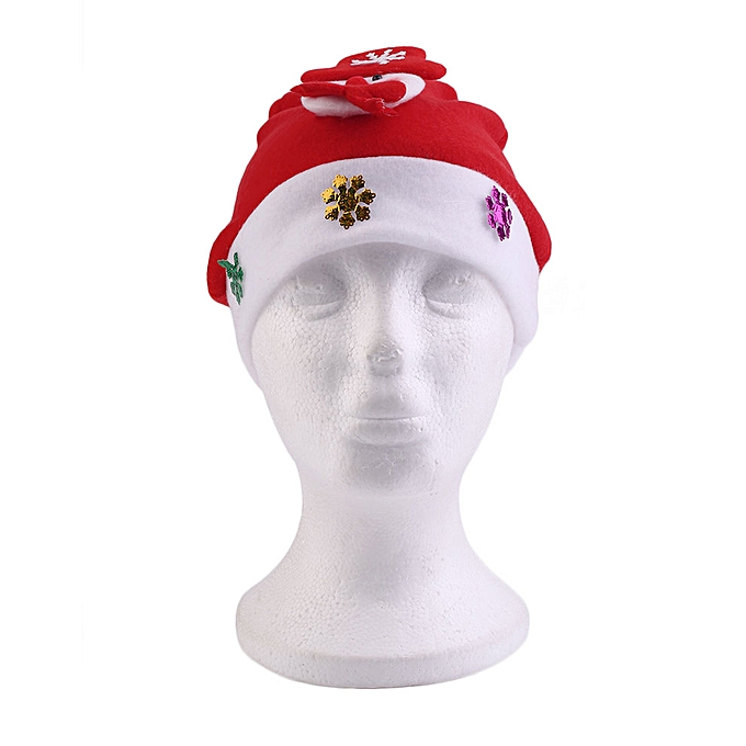 eff4a9d8dfd7f Cute Kids Children Red Christmas Decoration Glowing Hats Festival Wearing
