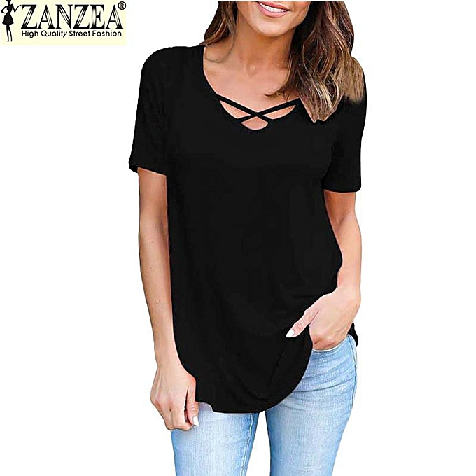 ae8c589f95 ZANZEA Women's Crisscross Lace Up Front V Neck Short Sleeve T-Shirt Tops  Blouse (Black)