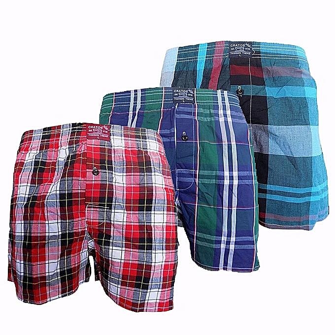 New 3 Pack Of Checkered Men s Boxers - Multi-Colored  77e81cc37847