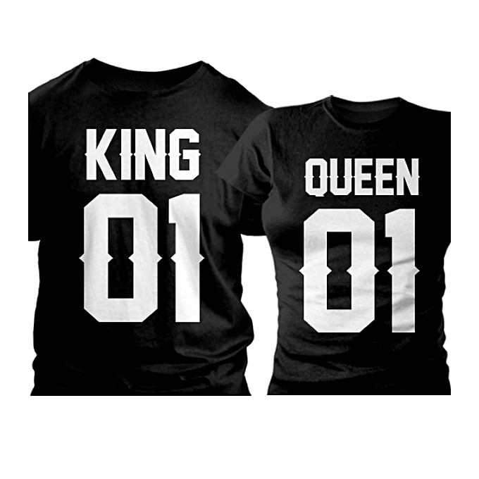 378826942 Buy Generic King 01 Queen 01 Couple T-Shirts - Black online   Jumia ...