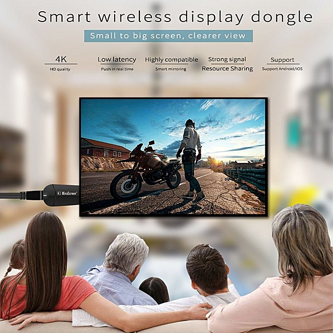 K6 Wireless Display Dongle 4K*2K Compatible with Mobile  Phone/Tablet/Computer black 2 4G Single band