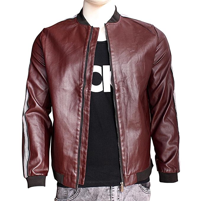 e64affbd1c4 Generic Men s Long Sleeve Leather Jacket - Dark Maroon